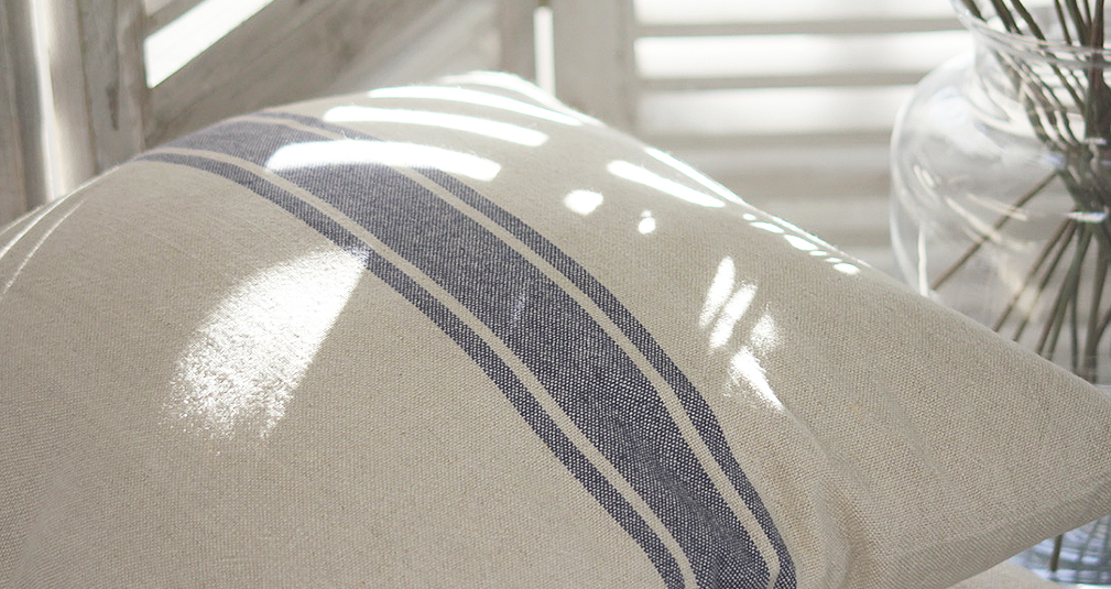 2.Blue stripe linen cushion